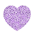 Heart mosaic of violet dots in various sizes and vector image vector image