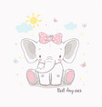 little elephant girl for kids vector image