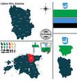 map of laane viru estonia vector image vector image
