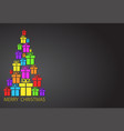 merry christmas tree with colorful gift boxes on vector image