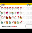 pattern educational game with christmas characters vector image vector image