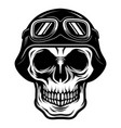skull head wearing retro biker helmet vector image