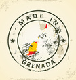 Stamp with map flag of Grenada vector image vector image