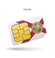 state florida phone sim card with flag vector image vector image