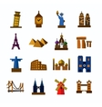 travel and landmarks icons vector image vector image