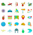 traveling on the planet icons set cartoon style vector image vector image