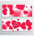 valentines day banners with blurred hearts vector image vector image