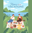 vertical card with happy family at picnic outdoors vector image vector image
