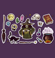 vintage halloween elements stickers magic ball vector image