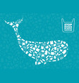 whale plastic waste ocean environment problem vector image vector image