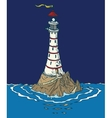 White Lighthouse in the Night vector image vector image
