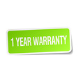 1 year warranty green square sticker on white vector image vector image