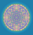 abstract mandala ornament on blue background vector image vector image