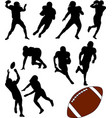 american football silhouettes set vector image