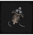 biker theme grunge label with motorbike and skull vector image vector image