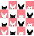 Black White Pink Cat Rabbit Chess board vector image vector image