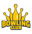 bowling skittle logo flat style vector image vector image