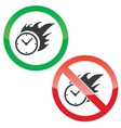 Burning time permission signs set vector image vector image