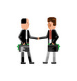business meeting businessmen with suitcases vector image