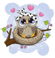 cartoon owl in a nest on a branch vector image