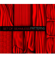collection of red curtains with shadows and glare vector image vector image