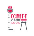comedy club logo design with retro microphone vector image vector image