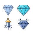 diamond icon set cartoon style vector image