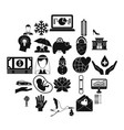 divertissement icons set simple style vector image