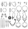 earring clasps types outline vector image vector image