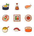 fish nutritional icons set cartoon style vector image vector image