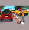 flagger working on road construction vector image