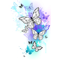 Flying Butterflies Watercolor vector image