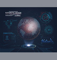 futuristic interface with planet hologram vector image vector image