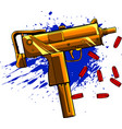 gold uzi army with bullets vector image vector image