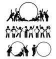 group of business friend holding a round empty vector image vector image