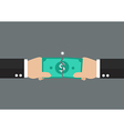 Hands tearing apart a banknote vector image