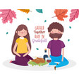 happy thanksgiving day couple sitting with dinner vector image