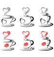 Hot Coffee Mugs Heart vector image vector image