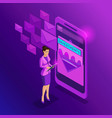 isometric business women look email inbox vector image vector image