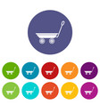 market trolley icons set color vector image vector image