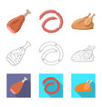 meat and ham logo vector image vector image