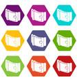 men belt icons set 9 vector image