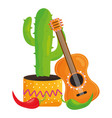 mexican cactu with guitar and chili pepper vector image vector image