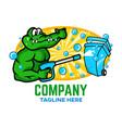 modern trash can with aligator logo vector image