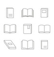 monochrome set with line book icons vector image