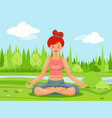 outdoor park nature meditation cute female girl vector image