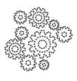 set gear machinery monochrome silhouette dotted vector image vector image