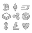 set of cryptocurrency icons line design in grey vector image vector image