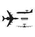 silhouettet of military aircraft vector image vector image