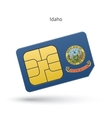 State of Idaho phone sim card with flag vector image vector image